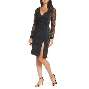 Tadashi Shoji Black Lace Long Sleeve  Dress